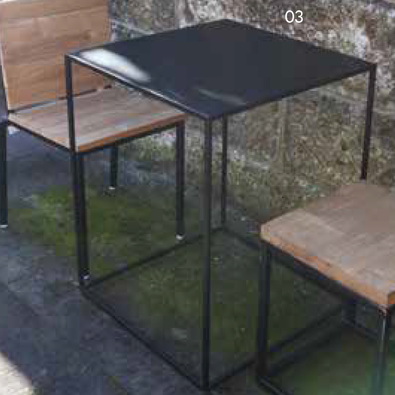 アイアンキューブテーブル 単品 チーク 木製 アイアン ガーデンテーブル 机 テラス アウトドア おしゃれ モダン