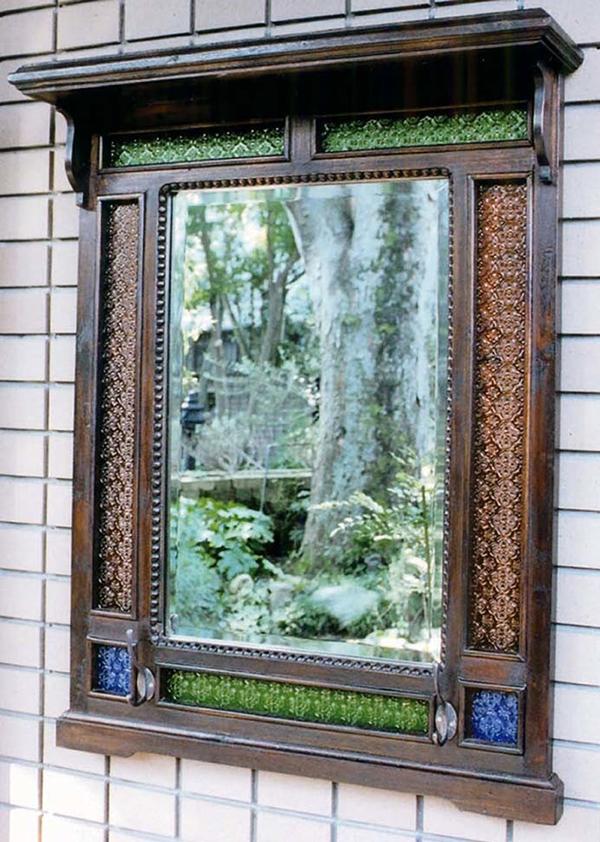 アンティーク化粧鏡 スパニョール 角型 壁掛け ミラー 壁掛ミラー ウォールミラー 木 チーク レトロ モダン おしゃれ 高級感