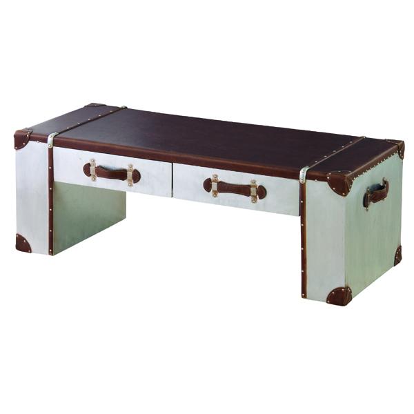 完成品 センターテーブル 幅120cm 合皮 引き出し 収納付き ローテーブル リビングテーブル コーヒーテーブル カフェテーブル 机 つくえ 作業台 モダン 北欧 ブルックリン 西海岸 男前 インテリア おしゃれ アンティーク