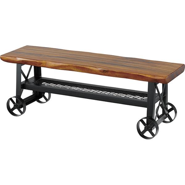 ダイニングベンチ 幅118cm 2人掛け 車輪付き 食卓椅子 チェアー チェア ダイニングチェアー イス 椅子 木製 二人掛け 2人掛け ベンチチェア 北欧 おしゃれ アンティーク 西海岸ブルックリン
