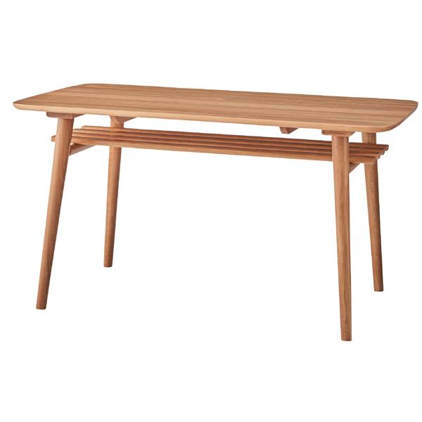 ダイニングテーブル 単品 棚付き 4人用 4人掛け テーブル 幅135cm 北欧 シンプル ダイニング テーブル 天然木 木製 おしゃれ 机 つくえ 食卓机 作業台 食卓テーブル リビングテーブル 西海岸 モダン ナチュラル