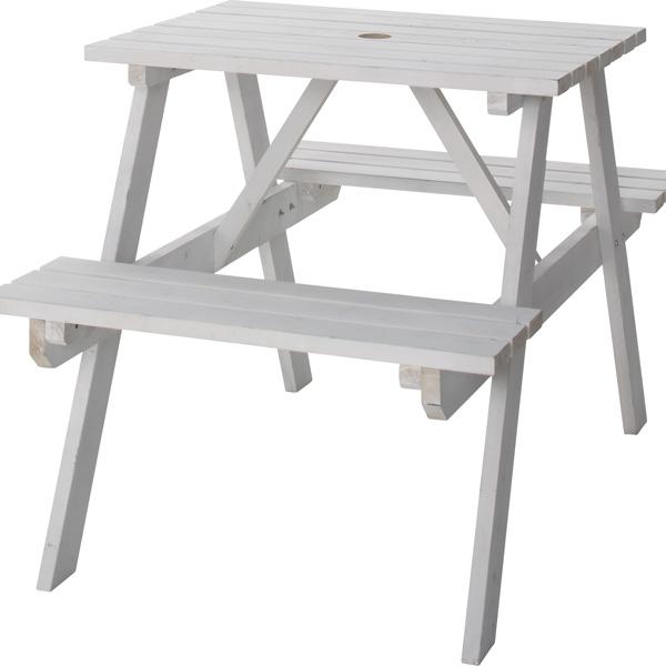 レジャーテーブルセット 2人 レジャーテーブル&チェアセット 幅75cm テーブル ベンチ チェア 机 木製 椅子 パラソル穴 アウトドア キャンプ イベント バーベキュー 屋外 室外 お庭 ベランダ ウッドデッキ ホワイト