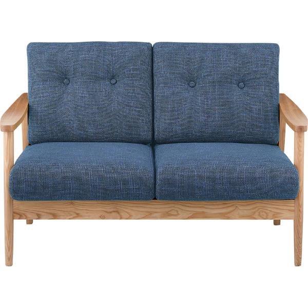 ソファー ソファ 2人掛け 二人掛け 2人用 イス 椅子 チェアー チェア 肘付き 木製 天然木 北欧 モダン レトロ カフェ風 西海岸 ブルックリン おしゃれ かわいい リビング 一人暮らし ブルー