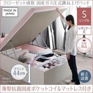 【組立設置付き】 ガス圧式跳ね上げベッド シングル aimable エマーブル 薄型抗菌国産ポケットコイルマットレス付き 縦開き シングルベッド レギュラー丈 深さグランド