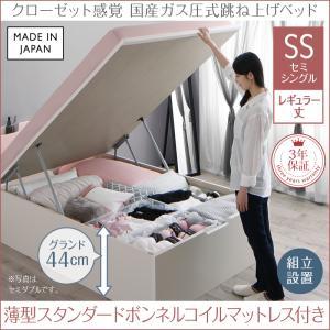 【組立設置付き】 ガス圧式跳ね上げベッド セミシングル aimable エマーブル 薄型スタンダードボンネルコイルマットレス付き 縦開き セミシングルベッド レギュラー丈 深さグランド