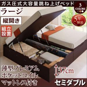 【組立設置付き】 跳ね上げベッド 跳ね上げ式ベッド ORMAR オルマー 薄型プレミアムポケットコイルマットレス付き 縦開き セミダブル ラージ ヘッドボード無し セミダブルベッド マット付き 収納付きベッド 500024743