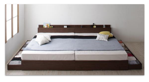 送料無料 収納付きベッド ワイドK240 SD×2棚付き コンセント付き 大型モダンデザイン Cedric セドリック プレミアムポケットコイルマットレス付き ファミリーベッド 大型ベッド マット付き040117347WDYEH92I