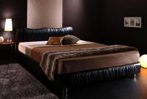 送料無料 レザー ベッド シングル ベッドフレーム マットレス セット すのこベッド モダンデザイン Wolsey ウォルジー プレミアムボンネルコイルマットレス付き シングルベッド シングルサイズ スノコベット フロアーベッド ブラック ホワイト おしゃれ 高級感