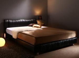 送料無料 レザー ベッド シングル ベッドフレーム マットレス セット ライト コンセント付き すのこベッド モダン Vesal ヴェサール プレミアムボンネルコイルマットレス付き シングルベッド シングルサイズ フロアーベッド ブラック ホワイト おしゃれ 高級感