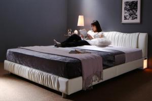 送料無料 レザー ベッド シングル ベッドフレーム マットレス セット ライト コンセント付き すのこベッド モダン Vesal ヴェサール プレミアムポケットコイルマットレス付き シングルベッド シングルサイズ フロアーベッド ブラック ホワイト おしゃれ 高級感