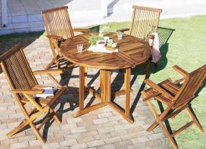 ガーデンテーブルセット [5点セット(テーブル+チェア4脚) ※チェア肘有※ チーク天然木 ガーデンファニチャーシリーズ Abelia アベリア]