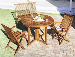 ガーデンテーブルセット [4点セット(テーブル+チェア2脚+背付ベンチ1脚) ※チェア肘有※ チーク天然木 ガーデンファニチャーシリーズ Abelia アベリア]