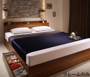 収納ベッド シングル [ベッドフレームのみ シングル 棚・コンセント付収納ベッド Irvine アーヴァイン]