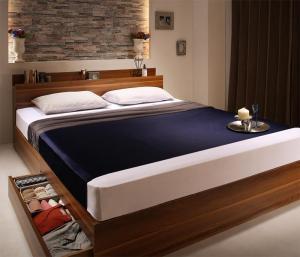 収納ベッド シングル [プレミアムボンネルコイルマットレス付き シングル 棚・コンセント付収納ベッド Irvine アーヴァイン]