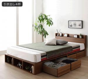 大容量収納ベッド セミダブル スタンダードポケットコイルマットレス付き 引き出し4杯 Finbro ケースも入るシェルフ棚コンセント付きベッド セール 登場から人気沸騰 日本メーカー新品 フィンブロ