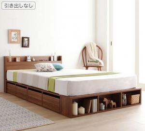 大容量収納ベッド セミダブル [マルチラススーパースプリングマットレス付き 引き出しなし セミダブル ケースも入るシェルフ棚コンセント付きベッド Finbro フィンブロ]