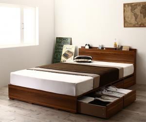 収納ベッド シングル [薄型プレミアムポケットコイルマットレス付き シングル 引き出し4杯 ロータイプ 高さが選べる棚コンセント付収納ベッドシリーズ Schachtel シャフテル]