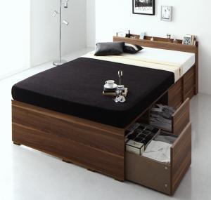 収納ベッド セミダブル [薄型プレミアムボンネルコイルマットレス付き セミダブル 引き出し4杯 ハイタイプ 高さが選べる棚コンセント付収納ベッドシリーズ Schachtel シャフテル]
