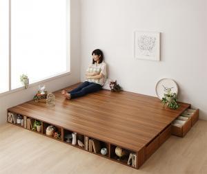 【お客様組立】収納ベッド ワイドK240(SD×2) [ワイドK240(SD×2) シェルフ棚・引出収納付き ベッドとしても フローリング調デザイン小上がり ひだまり]
