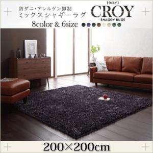 送料無料 防ダニ・アレルゲン抑制ミックスシャギーラグ CROY クロイ 200×200cm 絨毯 マット カーペット 040701217