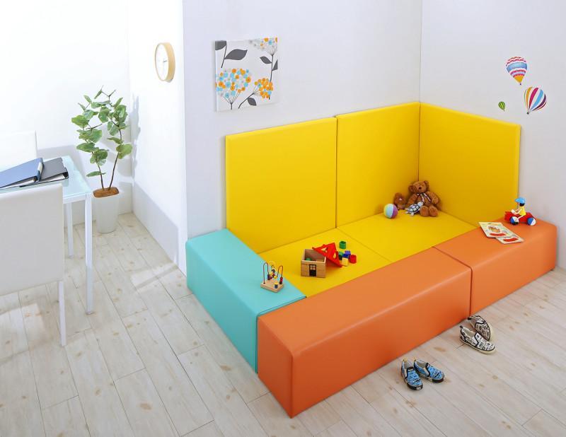 プレイマット キッズスペース [8点セット フロアマット2枚+スツール3枚+壁面マット3枚 (設置幅:215×125) コーナー型キッズプレイマットシリーズ Pop Kids ポップキッズ]