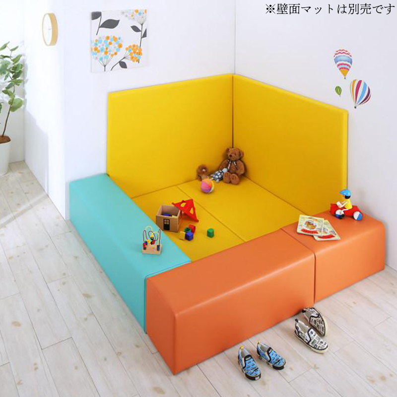 プレイマット キッズスペース [5点セット フロアマット2枚+スツール3枚 (設置幅:210×120) コーナー型キッズプレイマットシリーズ Pop Kids ポップキッズ]