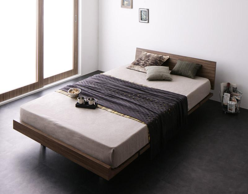 【送料無料】 ローベッド すのこベッド E-go イーゴ フルレイアウト フレーム幅120 マットレス:セミダブル 国産カバーポケットコイルマットレス付き デザインすのこベッド ウォールナット 布団使える マット付き
