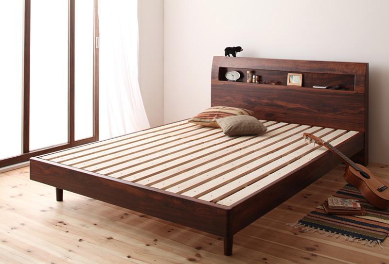 【送料無料】 すのこベッド ダブル 棚付き コンセント付き Haagen ハーゲン フレームのみ 木製ベッド ダブルベッド 040102502
