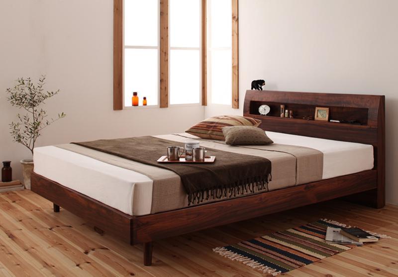 【送料無料】 すのこベッド ダブル 棚付き コンセント付き Haagen ハーゲン プレミアムポケットコイルマットレス付き 木製ベッド マットレスセット ダブルベッド マット付き 040102508