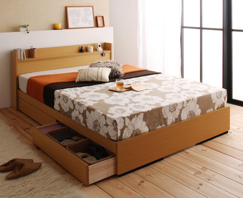 【送料無料】 収納付きベッド セミダブル 棚付き コンセント付き Mona モナ ポケットコイルマットレス付き 日本製 収納ベッド セミダブルベッド マットレス付き マット付き