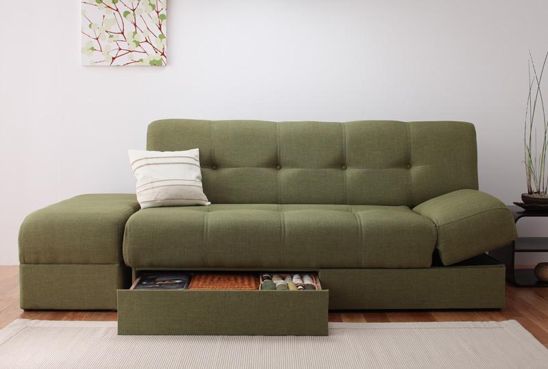 送料無料 日本製マルチソファベッド konoha このは ワイドソファーベッド 座面下収納付き リクライニングソファー スツール付き 040103912