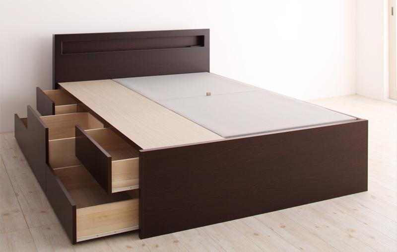 【送料無料】 チェストベッド シングル 大容量収納ベッド Lagest ラジェスト フレームのみ 日本製 棚付き コンセント付き シングルベッド 収納付きベッド