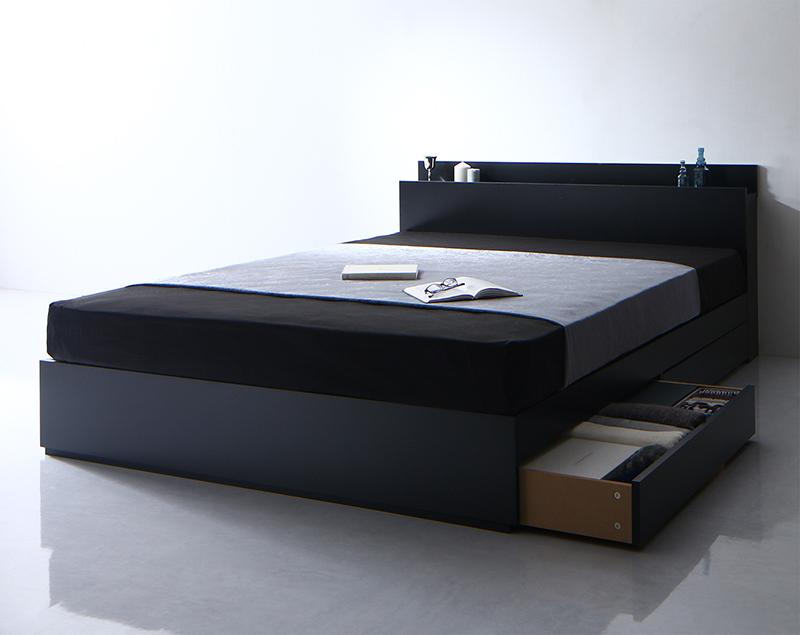 【送料無料】 収納ベッド ダブル 引き出し収納 Umbra アンブラ スタンダードボンネルコイルマットレス付き 引出し収納 棚付き コンセント付き ダブルベッド マットレス付き マット付き 収納付きベッド