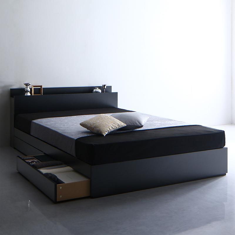 【送料無料】 収納ベッド ダブル 引き出し収納 Umbra アンブラ スタンダードポケットコイルマットレス付き 引出し収納 棚付き コンセント付き ダブルベッド マットレス付き マット付き 収納付きベッド