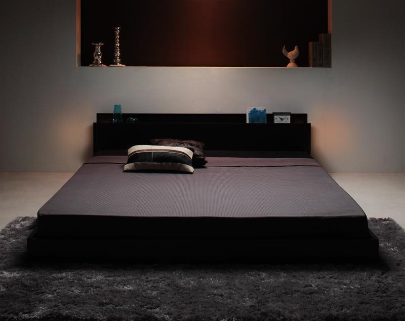 送料無料 フロアベッド セミダブル 照明付き 隠し収納付き Fragor フラゴル マルチラススーパースプリングコイルマットレス付き ローベッド ウォールナット ブラック セミダブルベッド マット付き ロースタイル 040109486