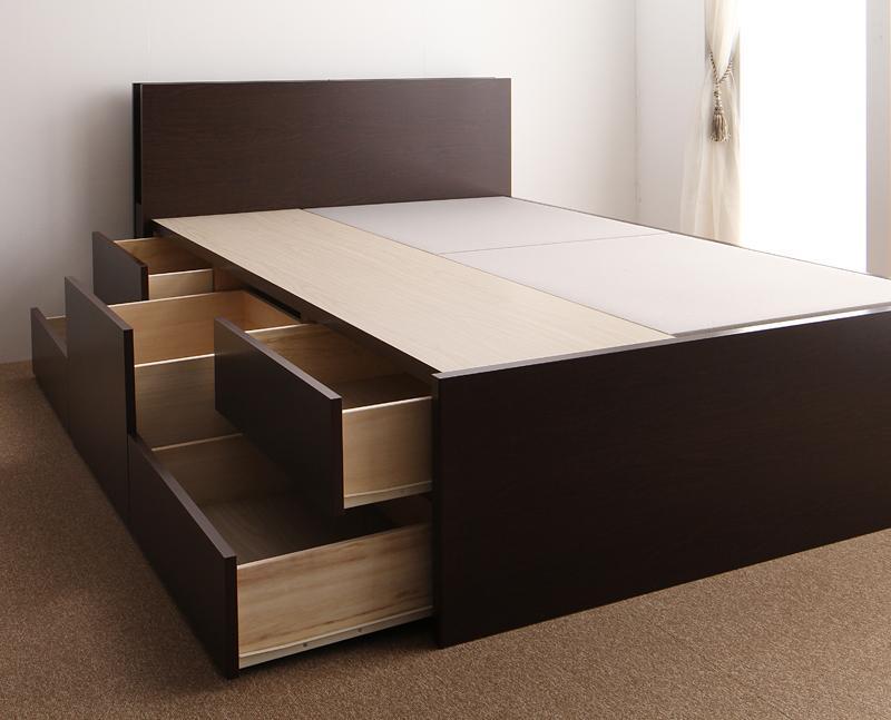 【送料無料】 チェストベッド セミダブル 収納ベッド Huette ヒュッテ フレームのみ コンセント付き ライト付き セミダブルベッド 収納付きベッド
