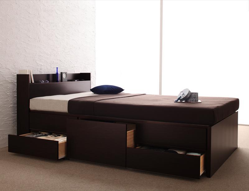 【送料無料】 チェストベッド シングル 大型収納ベッド Spass シュパース マルチラススーパースプリングマットレス付き 棚付き コンセント付き 引出し収納 シングルベッド マットレス付き マット付き 収納付きベッド