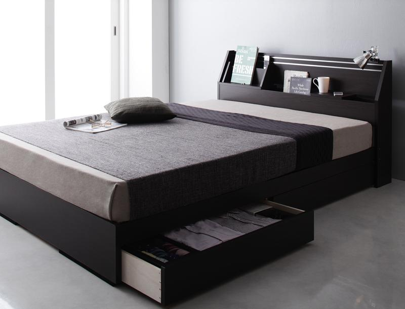 【送料無料】 収納ベッド セミダブル 可動棚付き 引出し収納 BRUXA ブルーシャ ポケットコイルマットレス 日本製 大容量収納ベッド セミダブルベッド マットレス付き マット付き 収納付きベッド