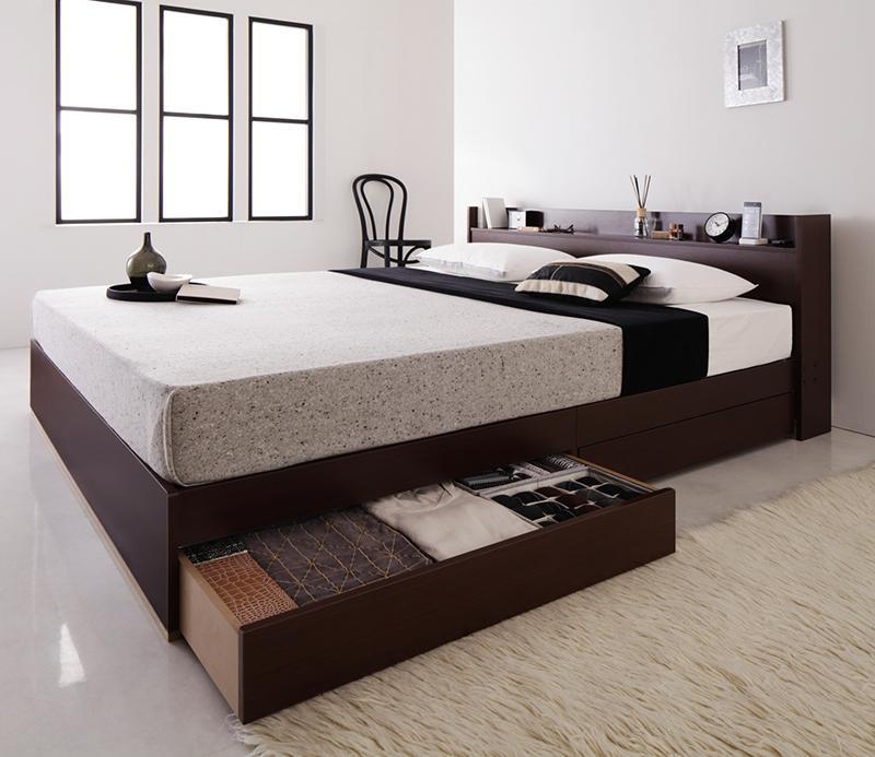 【送料無料】 コンセント付き 収納ベッド クイーン Else エルゼ 国産カバーポケットコイルマットレス付き 木製ベッド シンプル マットレス付き クイーンサイズ マット付き 収納付きベッド