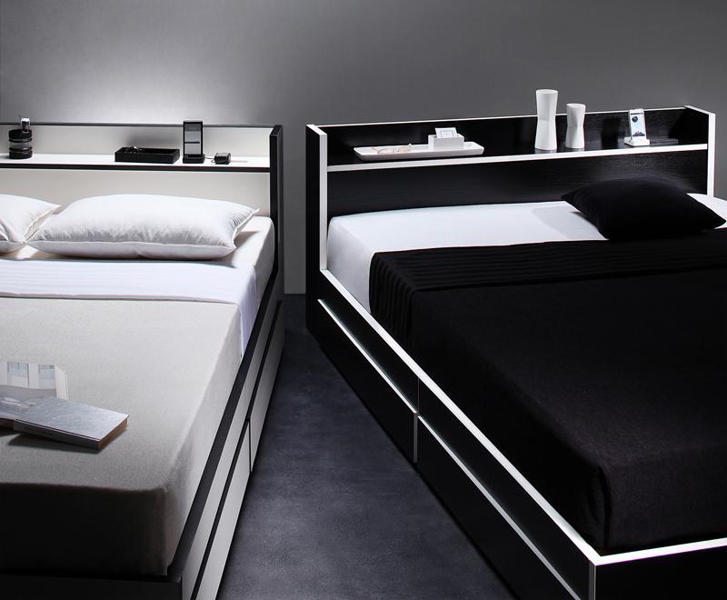 【送料無料】 収納ベッド シングル モノトーン 引出し収納 Fouster フースター マルチラススーパースプリングマットレス付き 引き出し収納付きベッド 棚付き コンセント付き シングルベッド マットレス付き マット付き