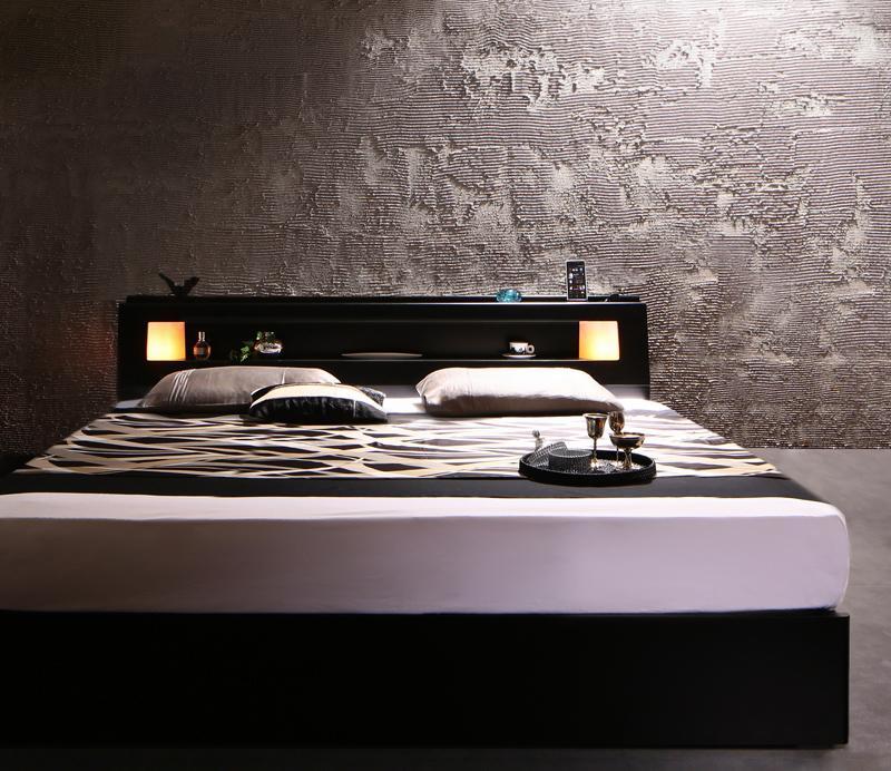【送料無料】 収納付きベッド キングサイズ 照明付き Leeway リーウェイ プレミアムボンネルコイルマットレス付き 棚付き コンセント付き マットレス付き キングベッド マット付き