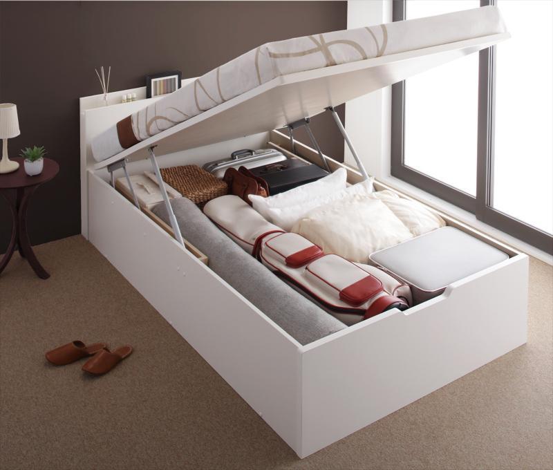 送料無料 跳ね上げベッド 日本製 Pratipue プラティーク セミダブル・グランド・縦開き・マルチラススーパースプリングマットレス付 収納ベッド 跳ね上げ式ベッド セミダブルベッド マット付き 040114845
