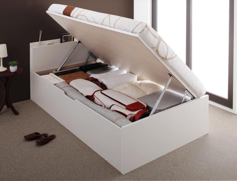 送料無料 跳ね上げベッド 日本製 Pratipue プラティーク セミシングル・レギュラー・横開き・マルチラススーパースプリングマットレス付 収納ベッド 跳ね上げ式ベッド セミシングルベッド マット付き 040114846