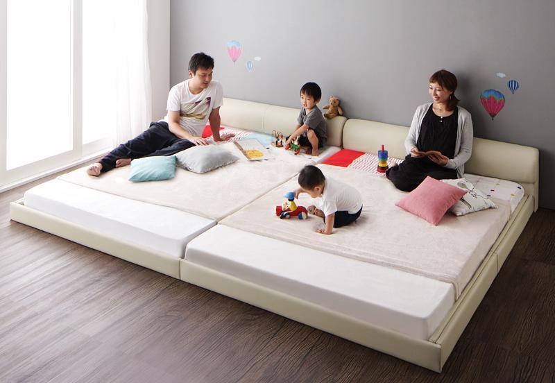 送料無料 ローベッド レザーベッド クイーン(SS×2) 大型ベッド Serafiina セラフィーナ プレミアムボンネルコイルマットレス付き フロアベッド レザーフレーム クイーンサイズ マット付き 親子ベッド 連結ベッド 040115946