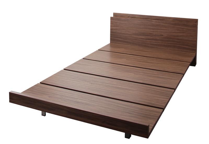 【送料無料】 ローベッド 棚付き コンセント付き チュース ベッドフレームのみ クイーン(Q×1) すのこベッド フロアベッド ウォールナット
