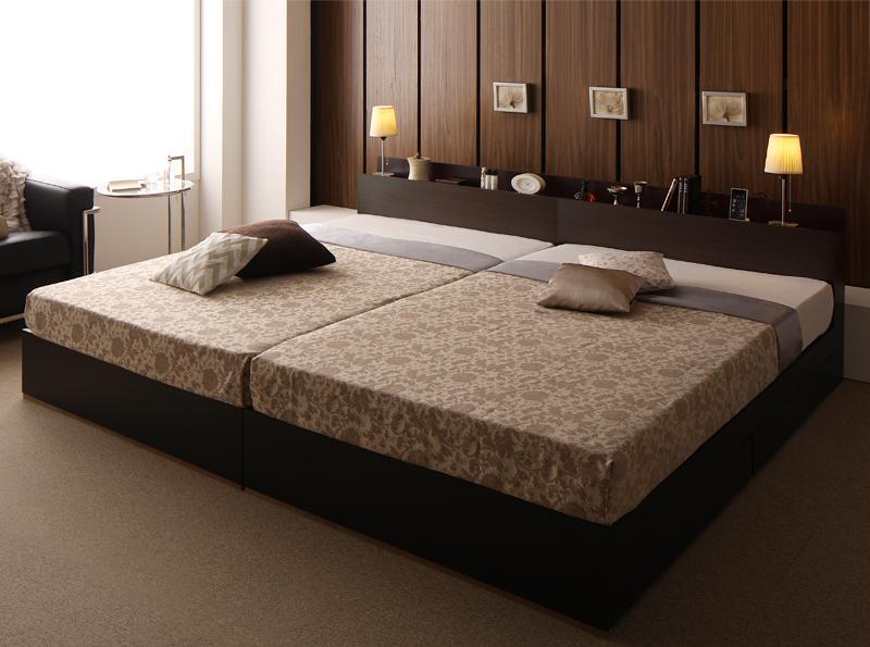 送料無料 収納付きベッド ワイドK200(S×2) 棚付き コンセント付き 大型モダンデザイン Deric デリック スタンダードボンネルコイルマットレス付き 大型ベッド ダークブラウン ブラック マット付き 親子ベッド 連結ベッド 040117459