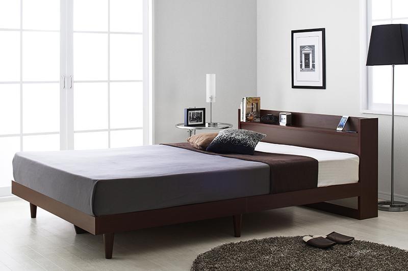 送料無料 ダブル 木製ベッド 棚付き コンセント付き Langford ランフォード 床板仕様 マルチラススーパースプリングマットレス付き ダークブラウン ブラック ホワイト ダブルベッド マット付き 040118684