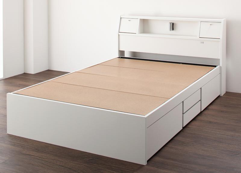 【送料無料】 チェストベッド ダブル ヘッドライト付き 収納ベッド Adonis アドニス フレームのみ ホワイト 引出し収納付き ダブルベッド 収納付きベッド
