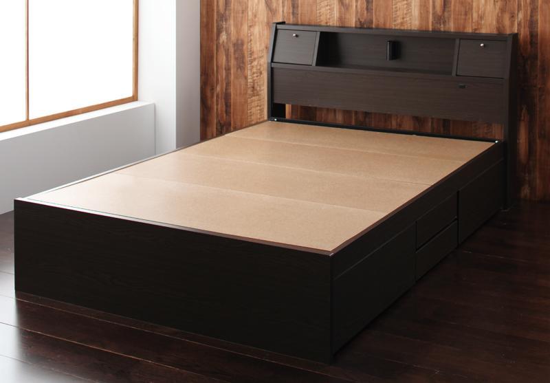 【送料無料】 チェストベッド シングル ヘッドライト付き 収納ベッド Coleus コリウス フレームのみ ダークブラウン 引出し収納付き シングルベッド 収納付きベッド