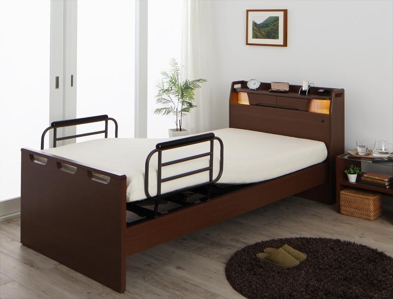 送料無料 電動ベッド 棚付き・照明付き・コンセント付き ラクライト ポケットコイルマットレス付き 2モーター 電動リクライニングベッド 介護ベッド マット付き 040119883